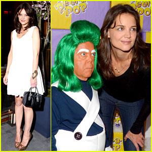 Katie Holmes Meets an Oompa Loompa in Wonka Land!