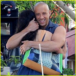 Vin Diesel Gives Jordana Brewster a Huge Hug for 'Fast & Furious 7'!