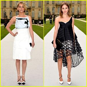 Jennifer Lawrence & Emma Watson Hit Up the Christian Dior Fashion Show!