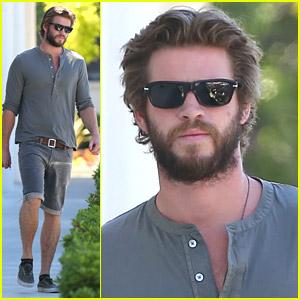 Liam Hemsworth Sports Full Beard For More Furniture Shopping