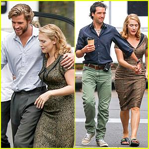 Liam Hemsworth & Kate Winslet Look Like Really Close Co-Stars on 'Dressmaker' Set