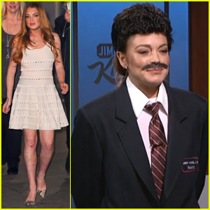 Lindsay Lohan Dresses Up as Guillermo for Surprise 'Jimmy Kimmel Live' Appearance - Watch Now!