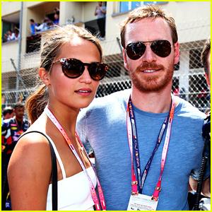 Michael Fassbender & Alicia Vikander Couple Up at F1 Grand Prix!