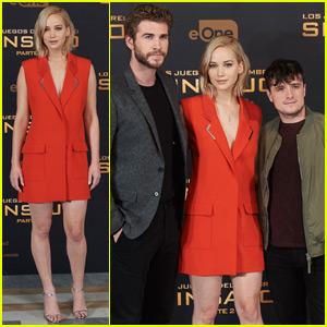 Jennifer Lawrence Takes Spain by Storm for 'Mockingjay Part 2' With Josh Hutcherson & Liam Hemsworth