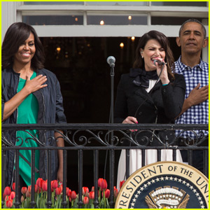 Idina Menzel Sings National Anthem at White House Easter Egg Roll