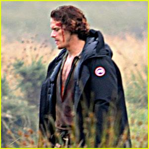Sam Heughan Is All Bloody on 'Outlander' Season 3 Set