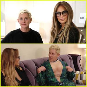 Ellen DeGeneres Wears Jennifer Lopez's Iconic Green Grammys Dress - Watch Now!
