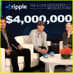 Ashton Kutcher Announces Enormous Donation to Ellen DeGeneres' Wildlife Fund