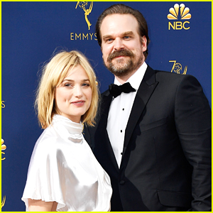 David Harbour & Girlfriend Alison Sudol Couple Up for Emmys 2018!