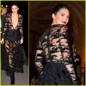 Kendall Jenner Wears a Sheer Dress for an Event in Paris