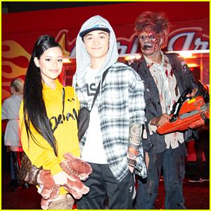 Jenna Ortega & Asher Angel Dress as Ariana Grande & Pete Davidson at Just Jared's Halloween Party!