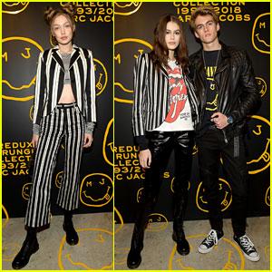 Gigi Hadid & Kaia Gerber Stun in Stripes at Marc Jacobs' Madison Store Opening