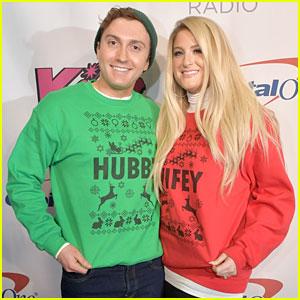 Meghan Trainor & Daryl Sabara Sport Matching 'Wifey' & 'Hubby' Holiday Sweaters at KISS 108's Jingle Ball 2018