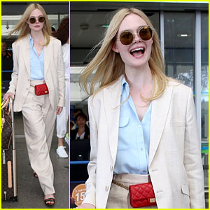 Elle Fanning Makes Chic French Arrival Ahead of Cannes Film Festival 2019