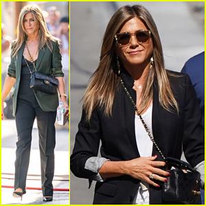 Jennifer Aniston & Adam Sandler Step Out for 'Jimmy Kimmel Live: Game Night' Episode!