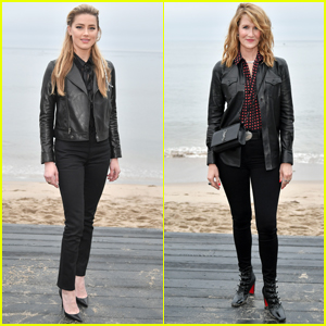 Amber Heard & Laura Dern Don Leather Jackets for Saint Laurent Fashion Show