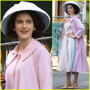 Rachel Brosnahan Goes Pretty in Pink While Filming 'Mrs. Maisel'