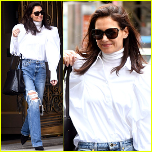 Katie Holmes Pairs Puff Sleeves With Ripped Jeans for Business Meeting