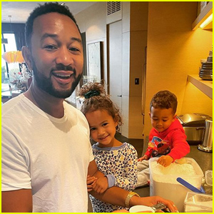 Chrissy Teigen Shares a Sweet Photo of Husband John Legend & The Kids Cooking Breakfast Together