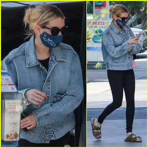 Emma Roberts Covers Up Baby Bump While Running Errands