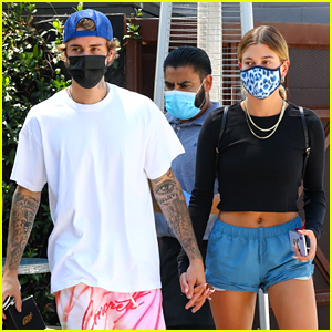 Justin & Hailey Bieber Walk Through Crowd of Spectators After Getting Lunch in L.A.