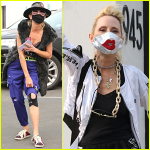 Anne Heche Wears Kinesiology Tape On Knee While Arriving at DWTS Practice