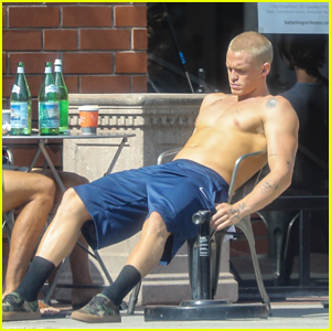 Cody Simpson Works on His Tan Shirtless While Grabbing Food With Friends