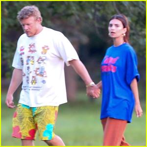 Emily Ratajkowski & Sebastian Bear-McClard Hold Hands Walk in The Hamptons