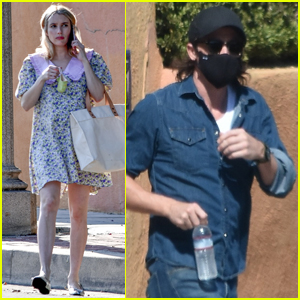 Emma Roberts Wears Pretty Floral Dress While Out with Garrett Hedlund