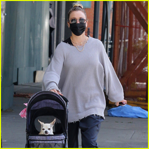 Kaley Cuoco Pushes Her Dog Around in a Stroller While Out in NYC!