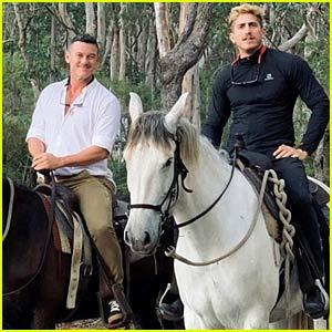 Luke Evans & Boyfriend Rafael Olarra Go Horseback Riding in Australia!