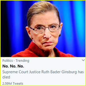 'No. No. No.' Trends on Twitter After Ruth Bader Ginsburg's Death