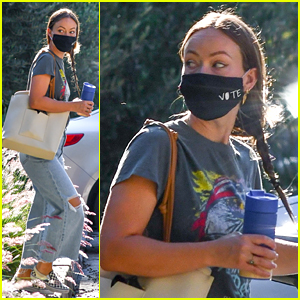 Olivia Wilde Wears Vote Face Mask One Day After Presidential Debate