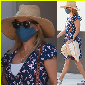 Reese Witherspoon Wears a Pretty Floral Dress to the Spa