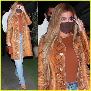 Kylie Jenner Shows Off Lighter Hair in Snakeskin-Print Coat During Night Out