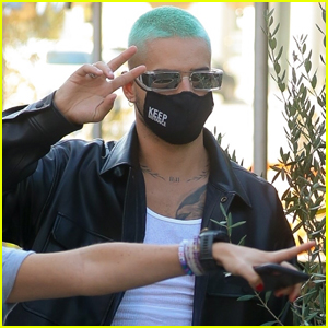 Maluma Shows Off Teal-Dyed Hair While Out to Lunch in WeHo