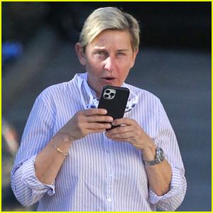 Ellen DeGeneres Wears Her Face Mask Around Her Neck Days After Positive Coronavirus Diagnosis