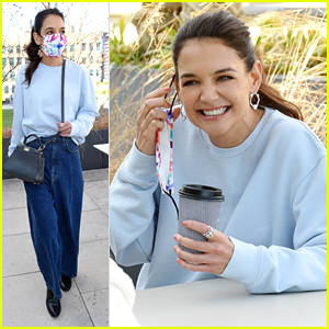 Katie Holmes Dazzles in Diamond Jewelry During Coffee Date With a Friend