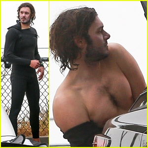 Adam Brody Strips Out of His Wetsuit After Surfing with Wife Leighton Meester