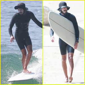 Adam Brody Does Some Solo Surfing in Malibu