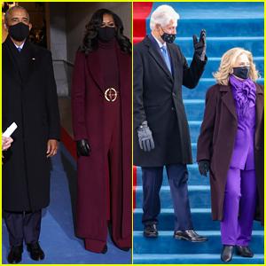 Barack Obama, Michelle Obama, Bill Clinton, & Hillary Clinton Arrive at Presidential Inauguration 2021