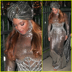 Beyonce Dazzles in Silver Gown & Turban While Heading to Grammys 2021 After Party