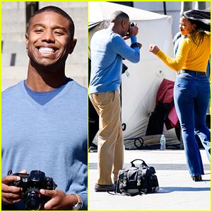 Michael B. Jordan & Chante Adams Dance Outside The Met While Filming 'Journal For Jordan'
