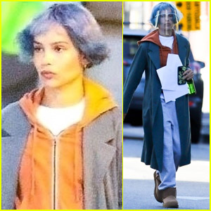 Zoe Kravitz Sports Blue Hair Filming Her New Movie 'KIMI' in L.A.