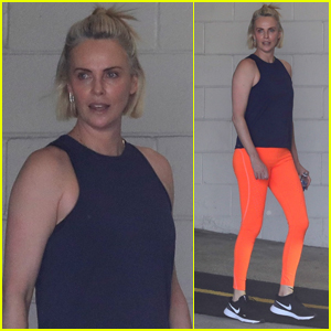 Charlize Theron Rocks Bright Orange Leggings For Her Workout