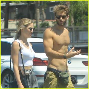 Keegan Allen Goes Shirtless During a Walk with Girlfriend Ali Collier