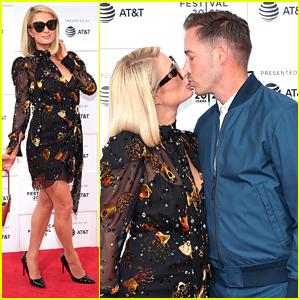 Paris Hilton & Fiance Carter Reum Kiss at 'This Is Paris' Tribeca Premiere