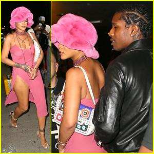 Rihanna Wears Cute Thigh High Slit Pink Dress To Dinner With A$AP Rocky
