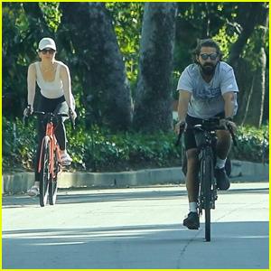 Shia LaBeouf & Mia Goth Reunite for a Bike Ride Together in Pasadena
