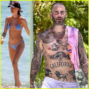 Adam Levine & Behati Prinsloo Bare Their Hot Bodies During a Sunny Saturday in Miami